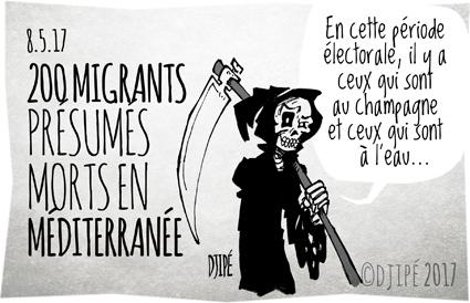 caricatures, dessin de presse, dessin satirique, dessinateur, Djipé, enfants, femmes, guerre, humour noir, Macron, Méditerranée, migrants, mort, naufrage,