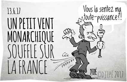 #LaRépubliqueEnMarche, caricatures, démocratie, dessin de presse, dessin satirique, dessinateur, Djipé, humour noir, législatives, LREM, Macron, monarchie, système,