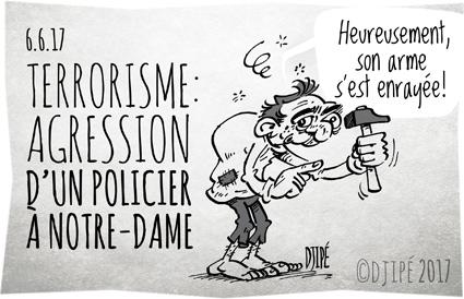 agression, caricatures, dessin de presse, dessin satirique, dessinateur, Djipé, État islamique, humour noir, marteau, mort, Notre-Dame, Paris, policier, terrorisme,