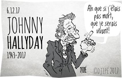 #JohnnyHallyday, caricatures, dessin satirique, dessinateur, Djipé, hommage, humour noir, idole, mort, musique, rock,