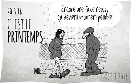 caricatures, dessin de presse, dessin satirique, dessinateur, Djipé, fake news, froid, grêle, hiver, humour noir, météo, neige, printemps,