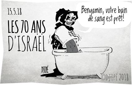bain de sang, caricatures, dessin de presse, dessin satirique, dessinateur, Djipé, Gaza, humour noir, Israël, mort, Nakba, Netanyahu, palestiniens, Trump, Washington,