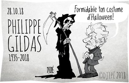 animateur, Antoine de Caunes, canal+, caricatures, décédé, dessin de presse, dessinateur, Djipé, émission, Halloween, humour, humour noir, journaliste, mort, Nulle part ailleurs, Philippe Gildas, télé, Vivolta,