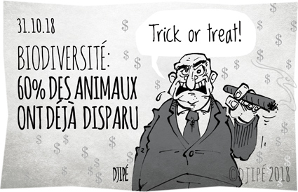 animaux, biodiversité, braconnage, caricatures, dessin de presse, dessinateur, disparition, Djipé, éléphants, extinction, félins, Halloween, humain, humour, humour noir, monstre, mort, rhinocéros, singes, trick or treat, vertébrés, WWF,