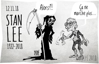 Black Panther, caricatures, comics, Daredevil, dessin de presse, dessinateur, Djipé, Docteur Strange, Hulk, humour, humour noir, Iron Man, Marvel, mort, Quatre Fantastiques, Spider-Man, Stan Lee, super-héros, X-Men,