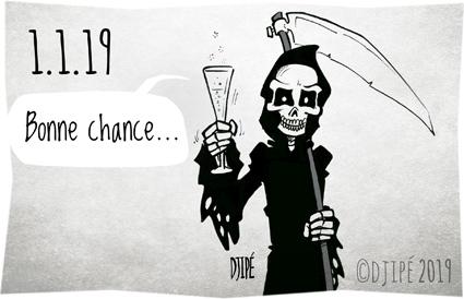 2019, caricatures, champagne, climat, dessin de presse, dessin satirique, dessinateur, Djipé, gilets jaunes, guerre, happy new year, humour noir, mort, Nouvel an, politique, réchauffement, voeux,