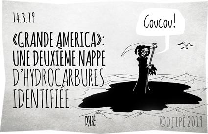 Atlantique, caricatures, catastrophe, dessin de presse, dessinateur, Djipé, faune, fioul lourd, Grande America, humour noir, hydrocarbures, La Rochelle, maritime, mort, naufrage, poissons, pollution,