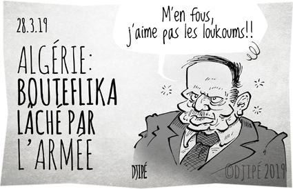 Abdelaziz Bouteflika, Algérie, armée, caricatures, dessin de presse, dessin satirique, dessinateur, Djipé, Gaïd Salah, humour noir, manifestations, président, Saïd Bouteflika, Zéralda,
